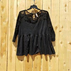 Black lace top shirt